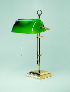 Bankerlampe Messing poliert W2 Gestell