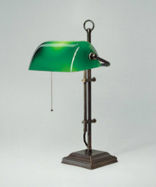 Bankerlampe antik patiniert W2 Gestell