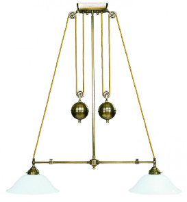 art nouveau Doppelzugleuchten Glasschirm 67,5 cm bis 90 cm weiß