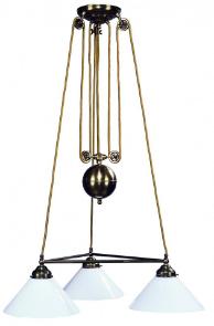 art nouveau Doppelzugleuchten Glasschirm weiß Kegel drei Arme 48 cm
