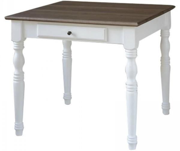 ANTIQUE Esstisch 90x90 cm Tisch Pinie weiß Platte Eiche grau