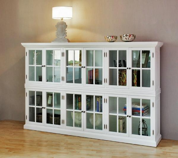 CLEVELAND Bücherschrank Highboard Sideboard weiß 240 cm