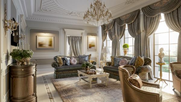 Luxuriöses barockes Wohnzimmer