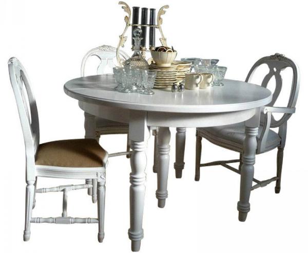DEJA Tisch rund ausziehbar mit Einlegeplatten 120 cm