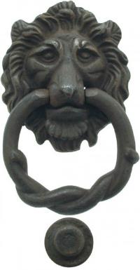 Antiker Loewenkopf Tuerklopfer aus massivem Eisen 90x105 mm