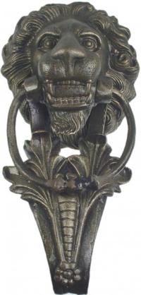 Antiker Loewenkopf Tuerklopfer aus patiniertem Messing 200x400 mm