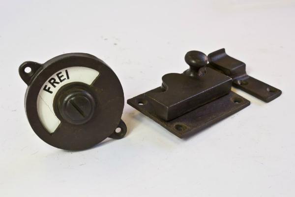 Toilettenverschluss aus antikem Eisen Frei Besetzt Riegel gerade