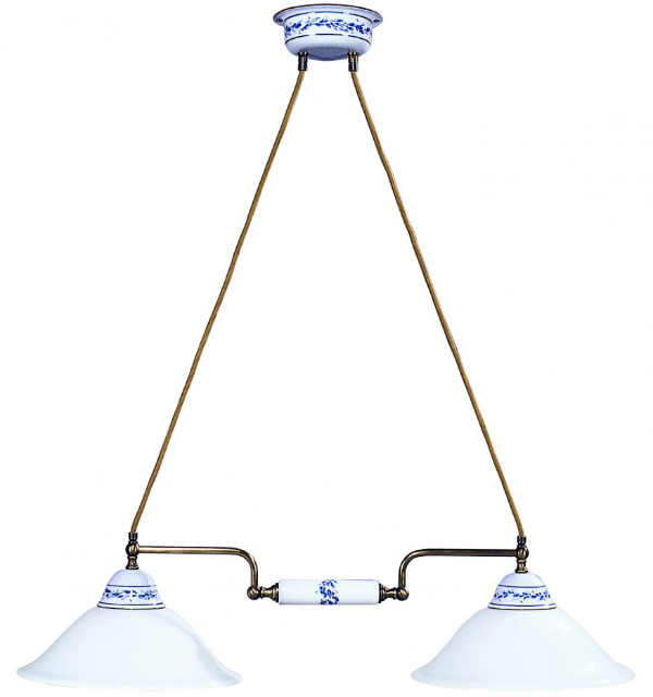Keramikleuchte Deckenleuchte weiss-blau 55 cm breit