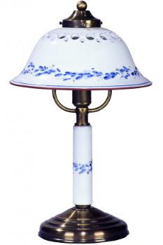 Keramikleuchte mit Schirm aus Keramik Tischleuchte weiss-blau 37 cm hoch