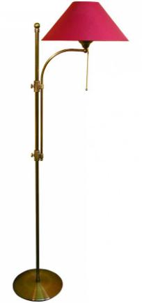 Stehlampe mit Stoffschirm rot Hoehe 130 cm bis 150 cm