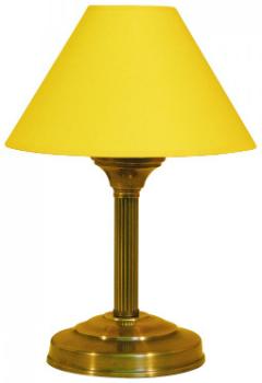 Tischleuchte Textilschirm gelb Rohr gerieft