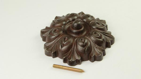 Zierrosette Eisen inklusive Stockschraube antik