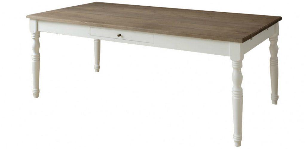 ANTIQUE Esstisch 200x100 cm mit Ansteckplatten - Platte Eiche grau