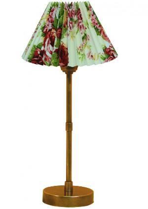 Simsleuchte Schirm Stoff Rosen rund plissiert Hoehe 26 cm