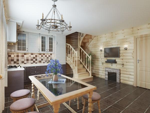 Kuechen- und Essbereich mit einer Blockinnentreppe Speisezimmer im Landhausstil