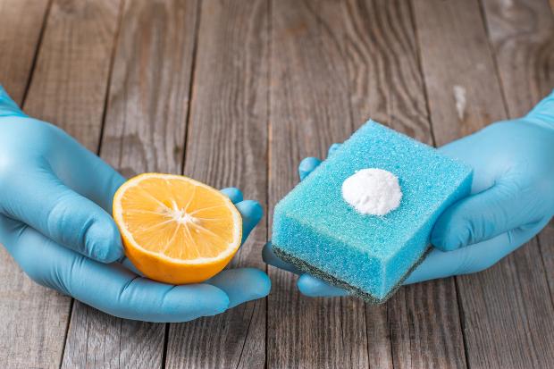 2 Hände mit Reinigungshandschuhen - mit Zitrone und Schwamm