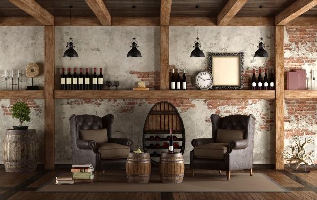 Rustikale Sitzecke im Weinkeller - Keller im Landhaus
