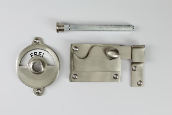 Toilettenverschluss - Frei/Besetzt - Riegel gerade (Nickel Matt)