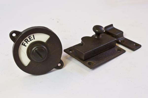Toilettenverschluss - Frei/Besetzt - Riegel gerade (Eisen rostig/antik patiniert)