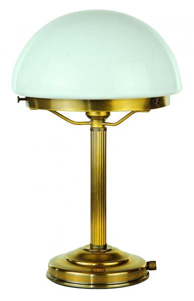 Tischleuchte - Glasschirm weiß / Rohr gerieft