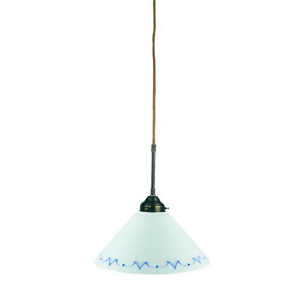 Pendelleuchte - Glasschirm blau-weiß